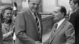 Helmut Kohl rencontre François Mitterrand, le 25 juin 1984, à l'occasion d'un sommet européen à Fontainebleau (Seine-et-Marne). (DANIEL JANIN / AFP)