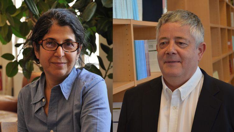 La chercheuse franco-iranienne Fariba Adelkhah et le chercheur français Roland Marchal sont détenus à la prison d'Evin en Iran depuis le mois de juin 2019. (Thomas Arrivé / Grégory Cales / Science Po)
