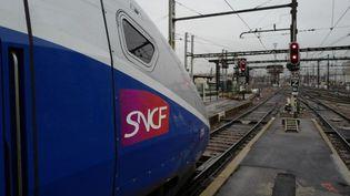 Des manifestants bloquent les voies du TGV au niveau de Vendôme (Loir-et-Cher). Le trafic entre Paris et le Sud-Ouest est très perturbé. (LUDOVIC MARIN / AFP)