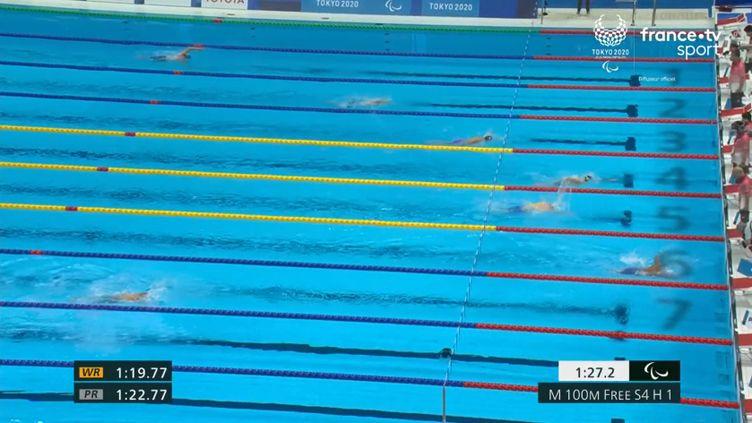 David Smétanine en 4e position de sa série des Jeux paralympiques de Tokyo. (France.tv)
