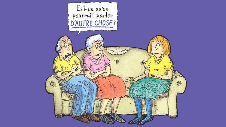 """Couverture (détail) """"Est-ce qu'on pourrait parler d'autre chose""""  (roz Chast / Gallimard)"""