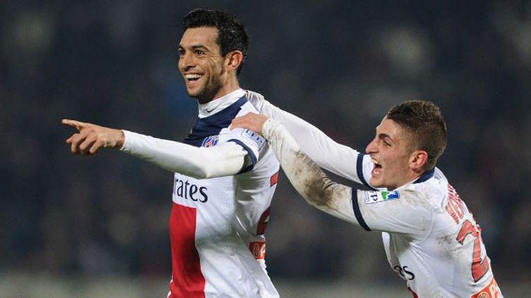 Les joueurs parisiens Javier Pastore et Marco Verratti