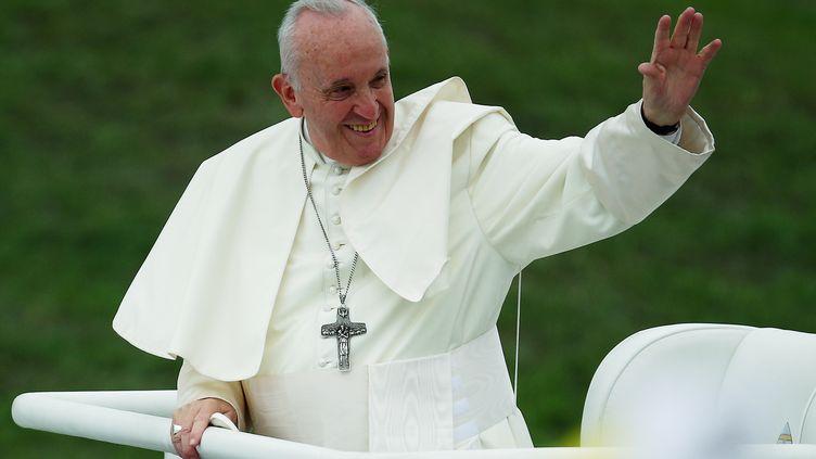 Le pape François salue la foule à son arrivée à la Rencontre mondiale des familles, à Dublin, en Irlande, le 26 août 2018. (HANNAH MCKAY / REUTERS)