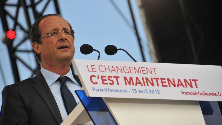 François Hollande, candidat du PS, en meeting à Vincennes, le15 avril 2012. (CITIZENSIDE.COM / CITIZENSIDE.COM)