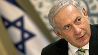 Le Premier ministre israélien Benyamin Netanyahou lors d'un discours dans la ville de Safed, dans le nord d'Israël, le 30 octobre 2011. (JACK GUEZ / AFP)
