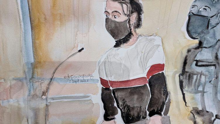 Salah Abdeslam, principal accusé du procès des attentats du 13-Novembre, le 8 septembre 2021, au tribunal de Paris. (ELISABETH DE POURQUERY / FRANCEINFO)