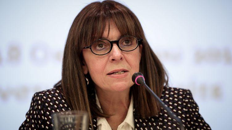 Ekaterini Sakellaropoulou à Athènes (Grèce), le 15 janvier 2020. C'est la première femme, chef de l'Etat grec élue à une large majorité le 22 janvier dernier par le parlement grec. (VASSILIS REMPAPIS / EUROKINISSI)