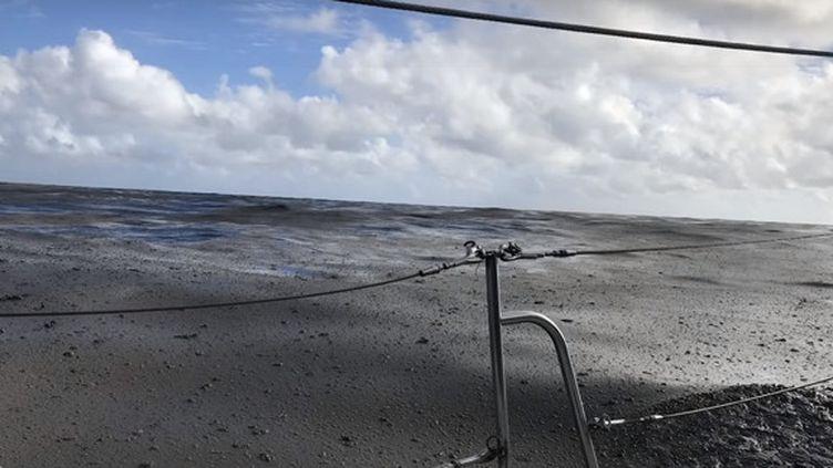 L'amas de pierres ponces filmé par une navigatrice, le 9 août 2019, dans le Pacifique. (YOUTUBE / SHANNON LENZ)