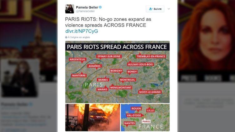 Une carte recensant de pseudo-émeutes en France, diffusée sur Twitter par une blogueuse américaine, le 16 février 2017. (TWITTER)