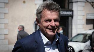 Fabien Roussel, le secrétaire national du Parti communite français, le 14 avril 2021, à Oloron Sainte-Marie (Pyrénées-Atlantiques). (LAURENT FERRIERE / HANS LUCAS / AFP)