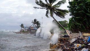 Tempête à Majuro, capitale des Îles Marshall, en novembre 2019. (HILARY HOSIA / AFP)