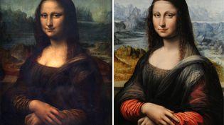 """A gauche, """"La Joconde"""" du Louvre, le 1er février à Paris. A droite, la copie découverte au musée du Prado (Espagne), le 1er février à Madrid. (JEAN-PIERRE MULLER-JAVIER SORIANO / AFP)"""