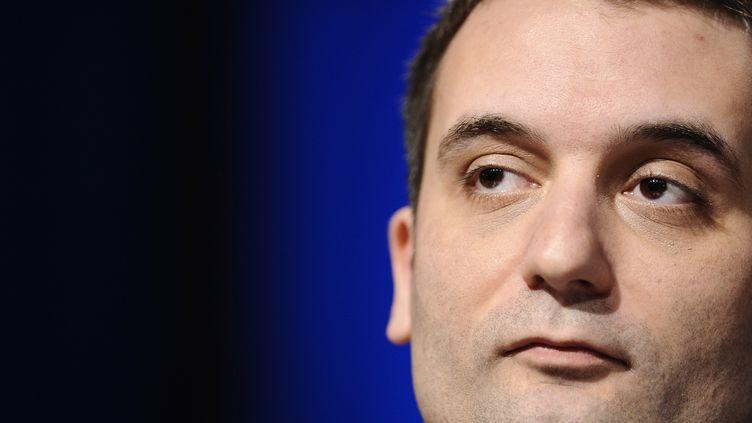 Le vice-président du FN, Florian Philippot, lors d'une conférence de presse le 9 mars 2015, à Metz. (JEAN-CHRISTOPHE VERHAEGEN / AFP)