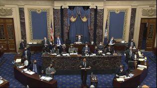 Joaquin Castro, l'un des élus démocrates chargés de porter l'accusation au procès en destitution de Donald Trump, devant le Sénat, au Capitole, à Washington, le 10 février 2021. (AP / SIPA)
