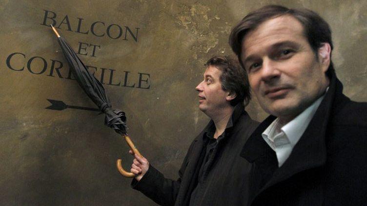 Olivier Mantei (D) et Olivier Poubelle (G), codirecteurs du Théâtre des Bouffes du Nord, en 2010  (FRANCOIS GUILLOT / AFP)
