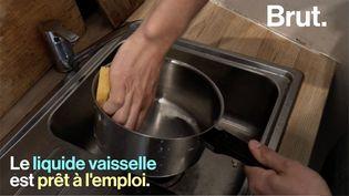 Maël, bénévole à La Maison du Zéro Déchet, nous dévoile une recette écologique et économique pour concevoir son propre produit vaisselle. (BRUT)
