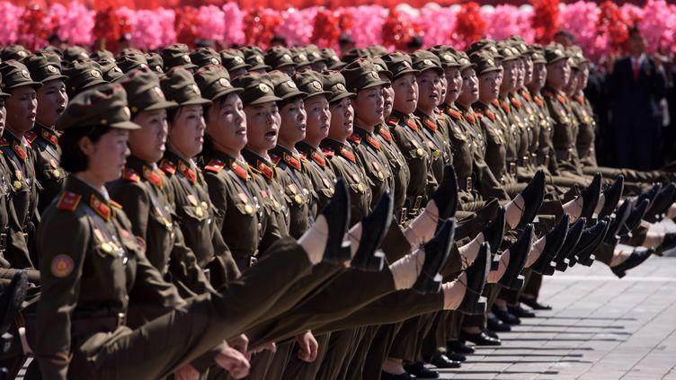 Des soldats de l'armée nord-coréenne lors du défilé militaire à Pyongyang, le 9 septembre 2018. (ED JONES / AFP)