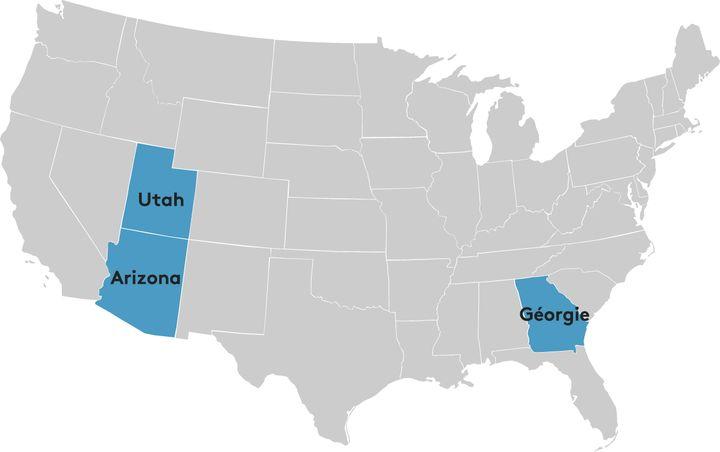 Les trois Etats traditionnellement républicains ciblés par la campagne Clinton. (FRANCETVINFO)