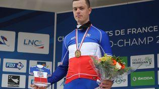 Rémi Cavagna, vainqueur des championnats de France de cyclisme du contre-la-montre masculin, le 21 août 2020 à Grand-Champ, en France. (LAURENT LAIRYS / AFP)