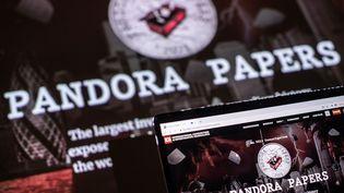 Le logo des Pandora Papers (LOIC VENANCE / AFP)
