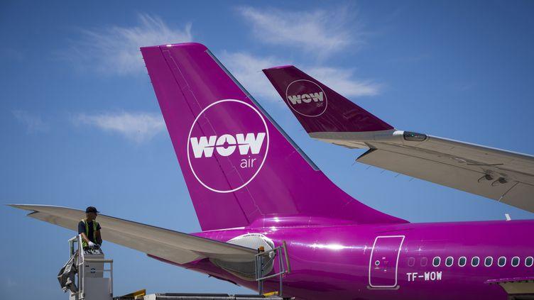 La dérive d'un avion de la compagnie aérienne Wow air à l'aéroport Charles-de-Gaulle à Roissy (Val-d'Oise). (JOEL SAGET / AFP)