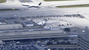Capture d'écran d'une vidéo de l'agence AP, où l'on aperçoit les voyageurs massés sur le tarmac de l'aéroport de Fort Lauderdale, le 6 janvier 2017 en Floride (Etats-Unis). (APTN)