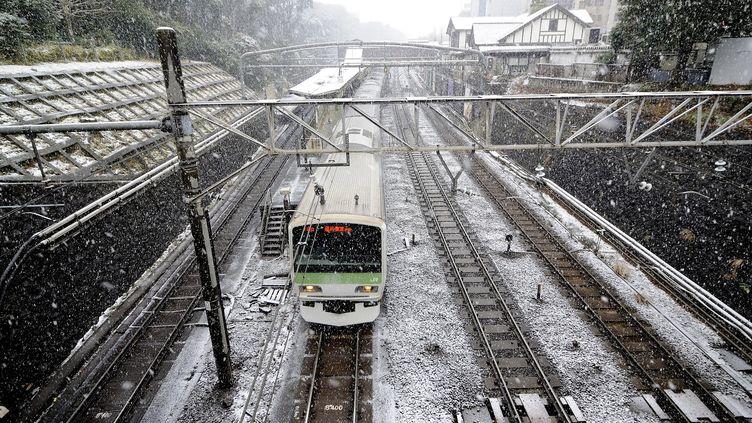 Un train circuleàTokyo (Japon), le 30 janvier 2015. (DAVID MAREUIL / ANADOLU AGENCY / AFP)