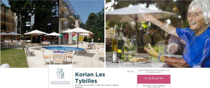 """(Capture d'écran du site web de l'établissement """"les Tybilles"""", à Meudon)"""