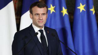 Emmanuel Macron lors du sommet franco-italien en février 2020. (LUDOVIC MARIN / AFP)