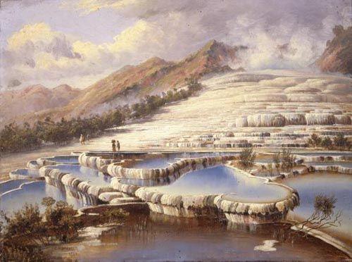 Peinture à l'huile des Terrasses Blanches du lac Rotomahanasignée Charles Blomfield. (Charles Blomfield)