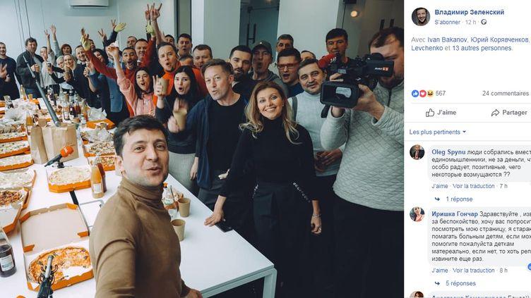 Capture d'écran du post où le comédien Volodymyr Zelensky annonce sa candidature à la présidentielle ukrainienne, le 21 janvier 2019. (VOLODYMYR ZELENSKY / FACEBOOK)