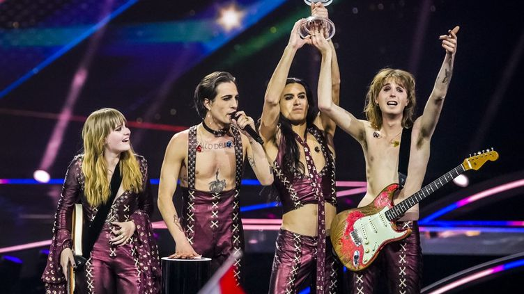 Le groupe italien Maneskin remporte l'Eurovision 2021 à Rotterdam, aux Pays-Bas, le 23 mai 2021. (SANDER KONING / ANP MAG / AFP)