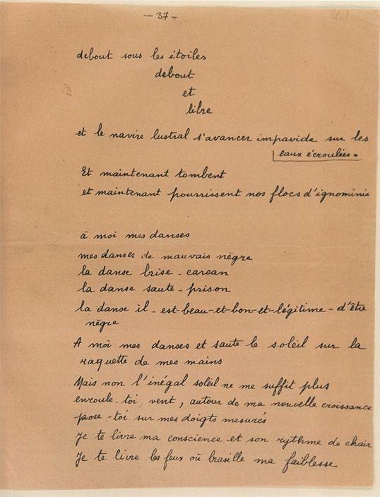 Extrait du manuscrit original du Cahier d'un retour au pays natal  (assemblée nationale)