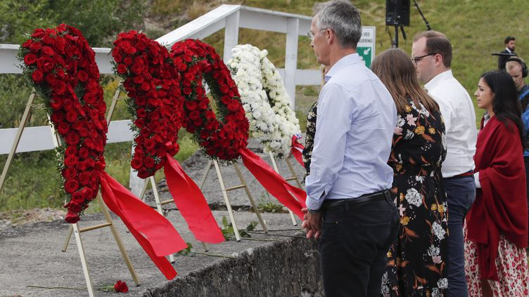 Jens Stoltenberg, le secrétaire général de l'OTAN et ancien Premier ministre norvégien, lors d'une cérémonie d'hommage aux victimes d'Utoya, le 22 juillet 2019. (TERJE BENDIKSBY / NTB SCANPIX)