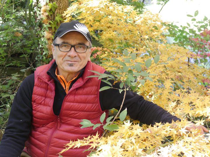 Agustin Coello-Vera, spécialiste des érables du Japon et fan de podophyllums. (ISABELLE MORAND / RADIO FRANCE)