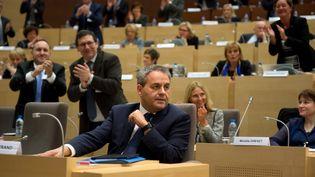 Le président de la région Nord-Pas-de-Calais-Picardie, Xavier Bertrand, lors d'une séance du conseil régional, le 4 janvier 2016 à Lille. (AFP)