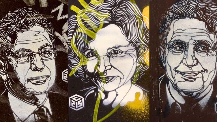 Trois prototypes de portraits de journalistes turcs emprisonnés, par C215  (C215)
