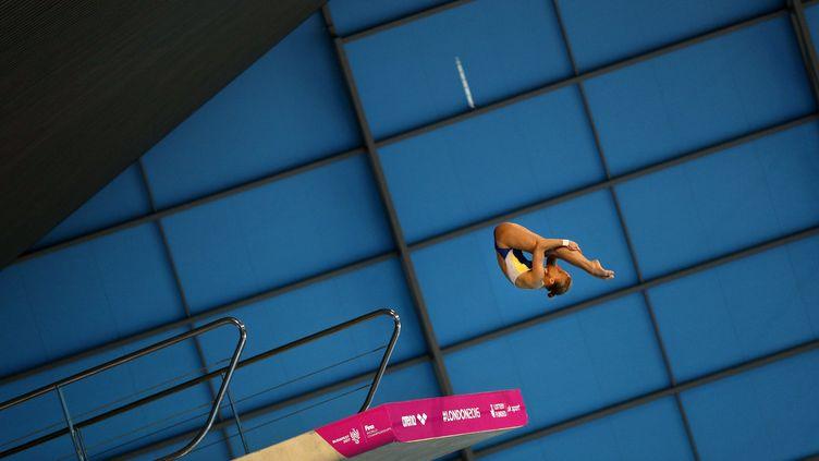 Iuliia Prokopchuk, championne d'Europe de plongeon à 10 m (ADRIAN DENNIS / AFP)