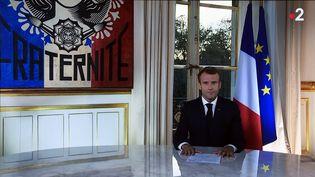 Emmanuel Macron lors de son allocution télévisée mardi 16 ocotobre 2018. (ALEXANDRE MARCHI / MAXPPP)