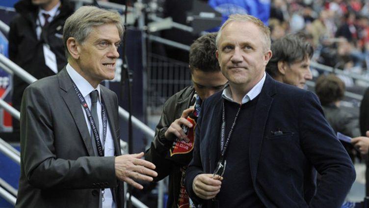 Le propriétaire du Stade Rennais François Pinault et Frédéric de Saint-Sernin au Stade de France avant la finale de la Coupe de France contre Guingamp (JEAN MARIE HERVIO / DPPI MEDIA)