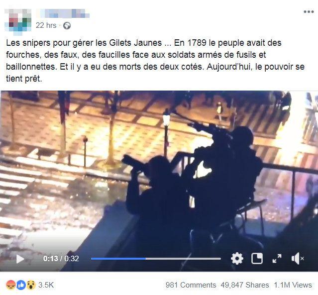 """Un internaute dénonce la présence d'un sniper sur les Champs-Elysées, lors de la mobilisation des """"gilets jaunes"""", le 1er décembre 2018. (FACEBOOK)"""