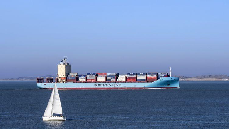 Un porte-conteneurs, le 20 février 2019, à Breskens au Pays-Bas. (PHILIPPE CL?MENT / MAXPPP)