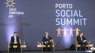 Lors dusommet social au Portugal qui a débuté vendredi,à Porto le 7 mai 2021. (LUIS VIEIRA / POOL / AFP)