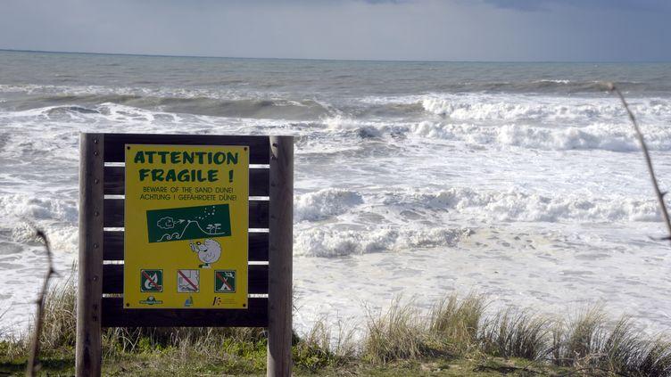 Une pancarte avertit les promeneurs de la fragilité de la dune, le 30 janvier 2014, à Lacanau-Océan (Gironde), pendant une tempête. (JEAN-PIERRE MULLER / AFP)
