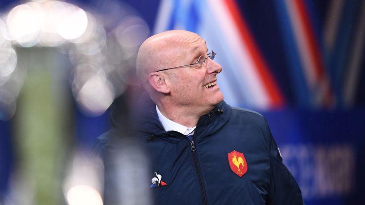 Bernard Laporte,président de la Fédération française de rugby, le 1er février 2019, au Stade de France, à Saint-Denis. (FRANCK FIFE / AFP)