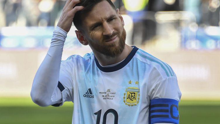 Le footballeur Lionel Messi, lors du match de la 3e place de la Copa America face au Chili le 6 juillet 2019 à Sao Paulo (Brésil). (NELSON ALMEIDA / AFP)
