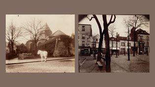 """Eugène Atget : à gauche, """"Église Saint-Médard, Ve"""", 1900-1901 - à droite, """"Place du Tertre, Montmartre, XVIIIe"""", 1922 (A droite et à gauche © Paris Musées / musée Carnavalet – Histoire de Paris)"""