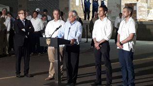 Juan Guaido aux côtés des présidents colombien, chilien et paraguayen, à Cucuta (Colombie) le 22 février 2019. (BENJAMIN ILLY / FRANCE-INFO)