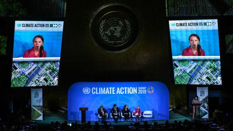 L'activiste écologiste Greta Thunberg s'exprime au sommet sur le climat de l'ONU, le 23 septembre 2019 à New York. (GETTY IMAGES)