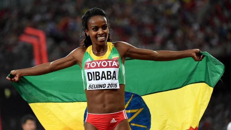 L'Ethiopienne Genzebe Dibaba après son sacre mondial à Pékin sur 1500m (LI GANG / NURPHOTO)
